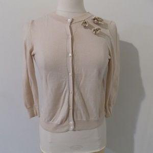 J. CREW Beige Cashmere Cardigan Sweater, Small